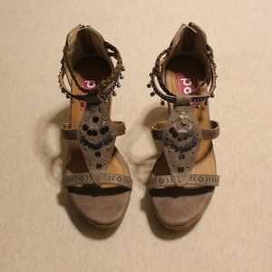 Vintage Pop Brown Embellished Cork Wedge Sandals